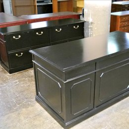 Refinished Kimball Black Desk and Credenza