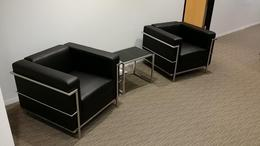 Modern Club Chairs- Black leather