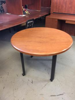 MOBILE ROUND CONFERENCE TABLE in CHERRY WOOD