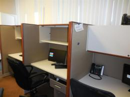 Haworth Call Center Cubicles with WOOD Trim