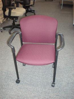 Hon Pagoda Mobile Side Chair H4075 Burgundy