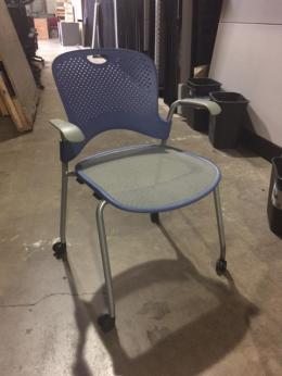 Used Caper Stack Chairs with Wheels - Blue