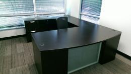 U Shaped Desk in Dark Walnut Laminate