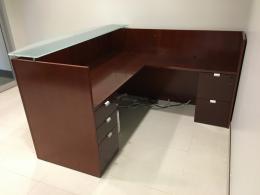 Wood Veneer L-Shape Reception Desk