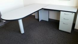 AIS White Laminate L-Shape Desks
