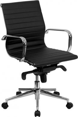 Flash Furniture Black Ribbed Conference Chair
