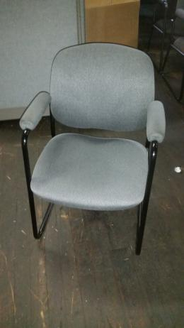 Gray Fabric Sled Base Side Chairs