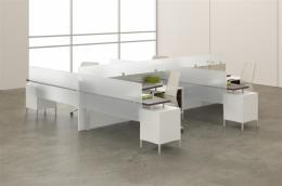 4 Person Benching/Desking with privacy glass