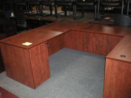 30 x 66 Desk & 24x48 Return  Cherry Laminate