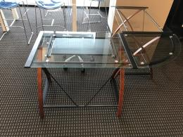 Glass L shaped computer desk