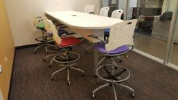 White Bar Height Conference Table with Power