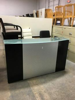 6x6 Pre-Owned Espresso Glass Reception Desk