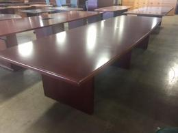 12 Foot Wood Boat Shape Conference Table