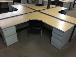 - - 6x6 Freestanding Maple Desk - -