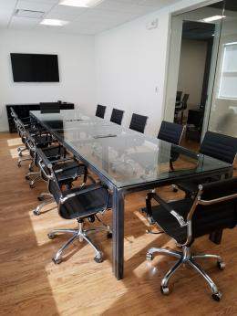 New Glass Conference Table with Metal Base