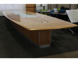 28' Maple Veneer Boat-Shaped Conference Table