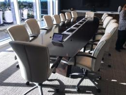 18' Espresso Boat Shaped Conference Tables
