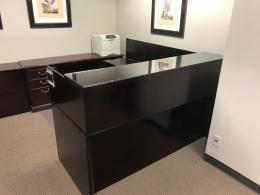 Deep Mahogany Reception L Desk