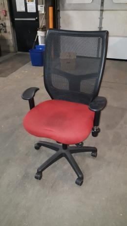 black Mesh back Orange seat task chair