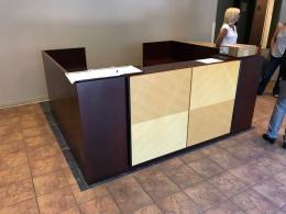 Mahogany Reception Desk with Maple Accent