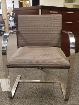 BRNO Gray Fabric Chrome Sled Base Guest Chair