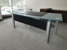 Contemporary Glass desk w/ pivoting return