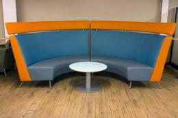 TEKNION BOOTH SEATING SET W/ TABLE - USED