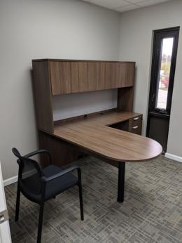 L shaped desks with D top