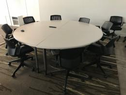 White Laminate Round Conference Table