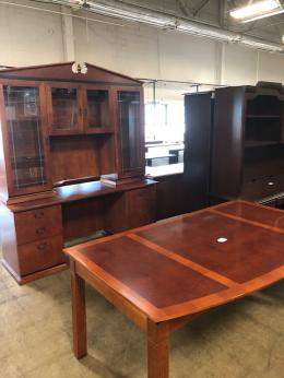 Beautiful Desk, Credenza and Hutch with Glass