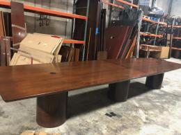 16' Walnut Boat Shaped Conf. Table