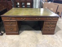 Olive Leather Top Traditional Partner Desk