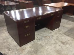 Paoli Mahogany Veneer Double Ped Desk