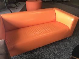 Pre-Owned Orange Vinyl Sofa