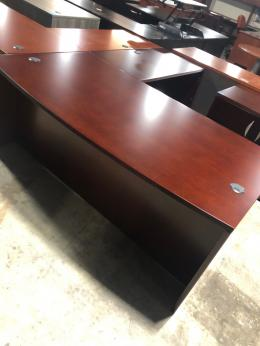 New Global Ventnor Veneer Bow Front L-Desks