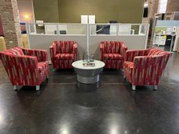Lacasse Group Red Pattern Club Chairs