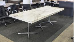 8.5' Rectangular Conference Table White Marb