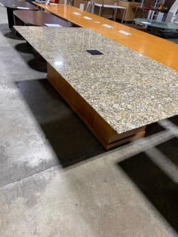 9' Granite Top Conference Table w/ Buffet