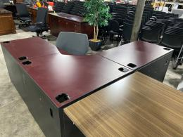 Teknion Mahogany Corner L-Desk w/ Black Trim
